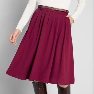 Modcloth Merlot Tiger Lilies Midi Skirt